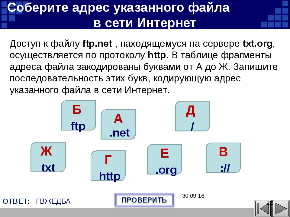 В :// Г http Е .org Ж txt Б ftp Д / A .net Соберите адрес указанного файла в...