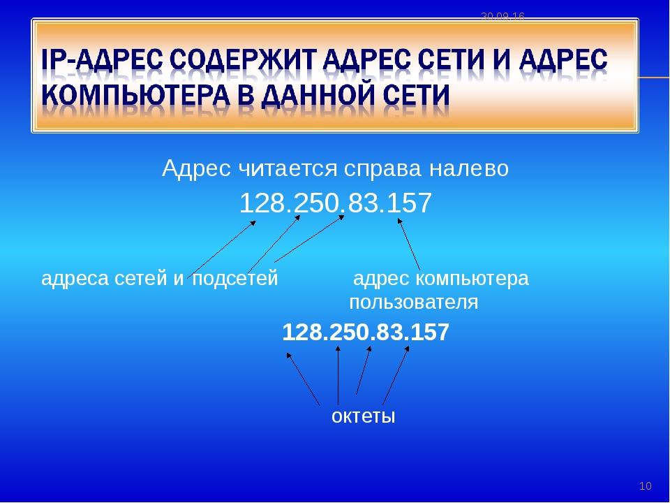 Адрес читается справа налево 128.250.83.157 адреса сетей и подсетей адрес ко...
