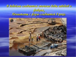 В водоёмы сливаются сточные воды заводов и фабрик. Нечистоты с ферм сливаются