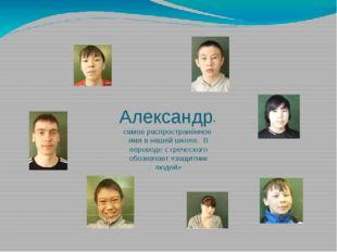 Александр- самое распространённое имя в нашей школе. В переводе с греческого