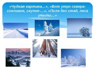 «Чудная картина…», «Вот утро севера-сонливое, скупое-…», «Поля без стад, леса