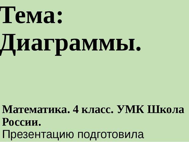 Тема: Диаграммы. Математика. 4 класс. УМК Школа России. Презентацию подготови...