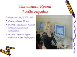 Сантагина Ирина Владимировна Окончила БиПГИ в 1997 г Стаж работы 17 лет В 201