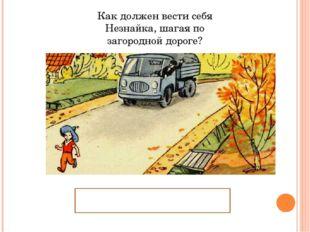 Как должен вести себя Незнайка, шагая по загородной дороге? Идти по обочине д