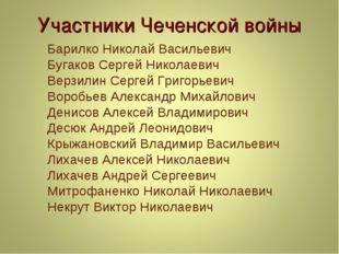 Участники Чеченской войны Барилко Николай Васильевич Бугаков Сергей Николаеви