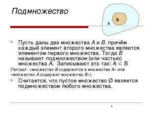 Подмножество Пусть даны два множества А и В. причём каждый элемент второго м