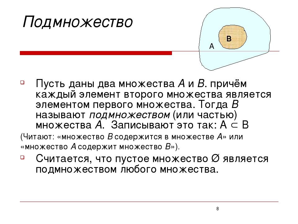 Подмножество Пусть даны два множества А и В. причём каждый элемент второго м...