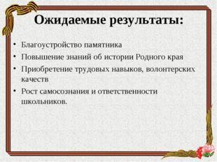 Благоустройство памятника Повышение знаний об истории Родного края Приобретен