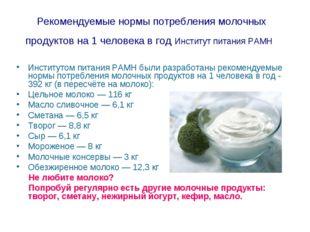 Рекомендуемые нормы потребления молочных продуктов на 1 человека в год Инстит