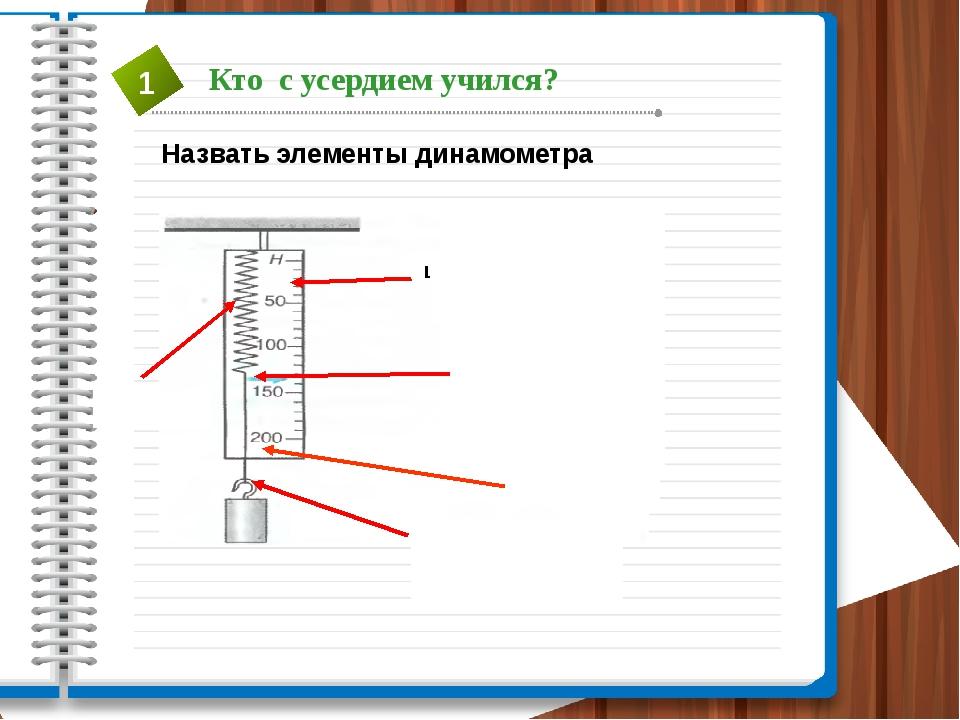 Назвать элементы динамометра пружина Стрелка- указатель Шкала прибора дощечка...