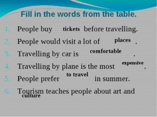 Fill in the words from the table. People buy before travelling. People would