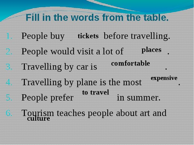 Fill in the words from the table. People buy before travelling. People would...
