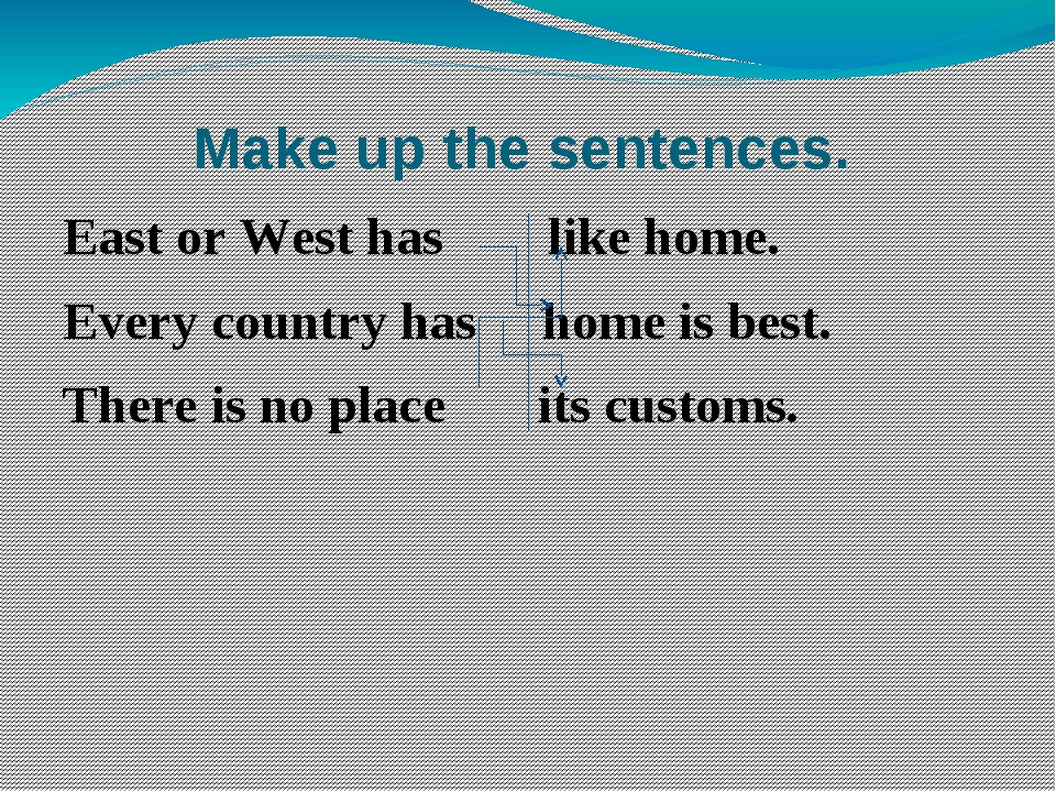 Make up the sentences. East or West has like home. Every country has home is...
