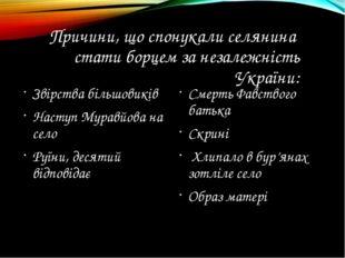 Причини, що спонукали селянина стати борцем за незалежність України: Звірства