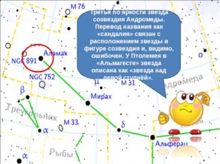 Третья по яркости звезда созвездия Андромеды. Перевод названия как «сандалия»