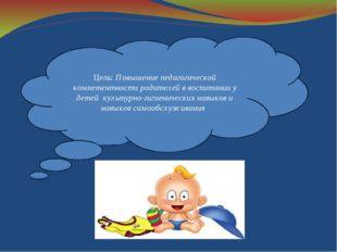 Цель: Повышение педагогической компетентности родителей в воспитании у детей