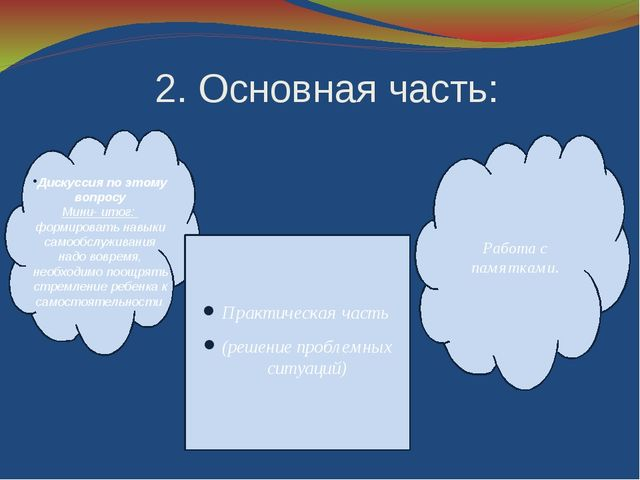 2. Основная часть: Практическая часть (решение проблемных ситуаций) Работа с...