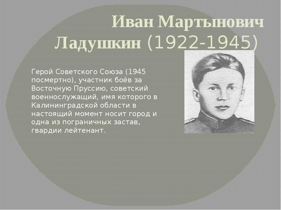 Иван Мартынович Ладушкин(1922-1945) Герой Советского Союза (1945 посмертно)...