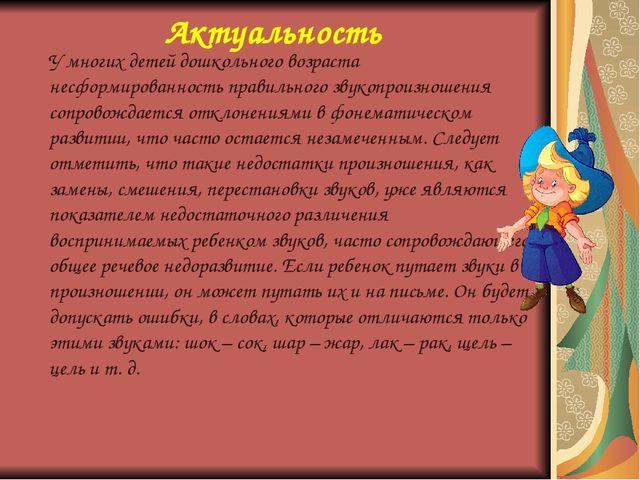 Актуальность У многих детей дошкольного возраста несформированность правильно...