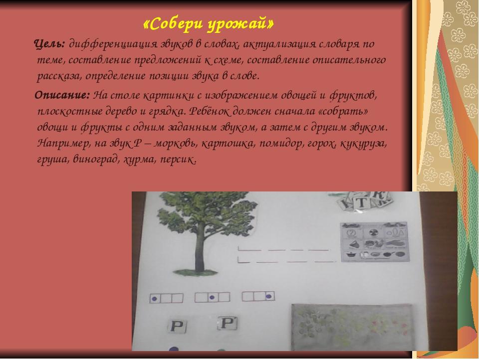 «Собери урожай» Цель: дифференциация звуков в словах, актуализация словаря по...