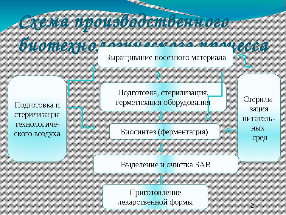 Схема производственного биотехнологического процесса Подготовка и стерилизаци...