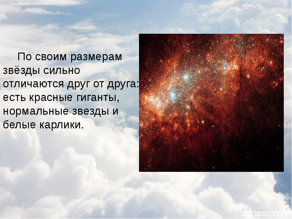 По своим размерам звёзды сильно отличаются друг от друга: есть красные гиган...