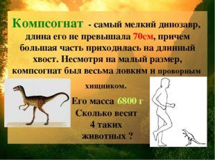 Компсогнат - самый мелкий динозавр, длина его не превышала 70см, причем больш
