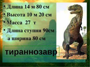 Длина 14 м 80 см Высота 10 м 20 см Масса 27 т Длина ступни 90см , а ширина 80