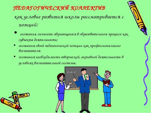 ПЕДАГОГИЧЕСКИЙ КОЛЛЕКТИВ как условие развития школы рассматривается с позиций...