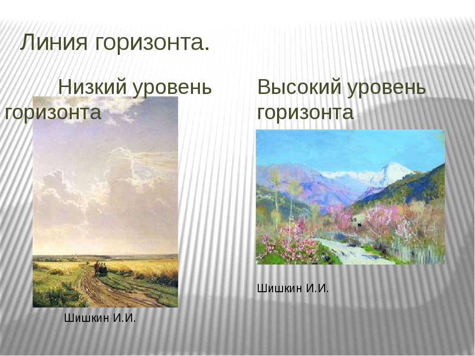 Линия горизонта. Низкий уровень горизонта Высокий уровень горизонта Шишкин И....