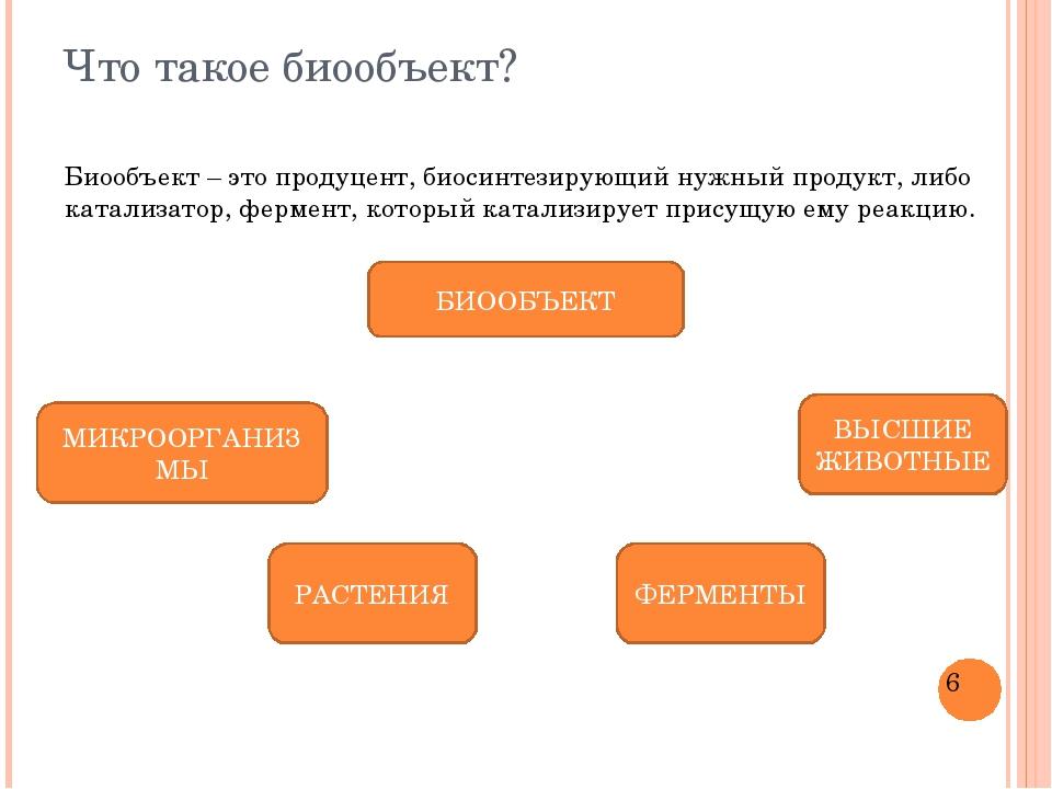 Что такое биообъект? Биообъект – это продуцент, биосинтезирующий нужный проду...