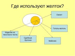 Где используют желток? Майонез Гоголь-моголь Омлет Изделия из песочного теста