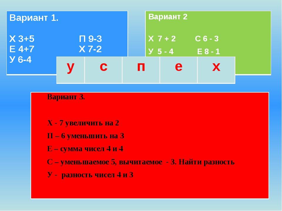 Вариант 3. Х - 7 увеличить на 2 П – 6 уменьшить на 3 Е – сумма чисел 4 и 4 С...
