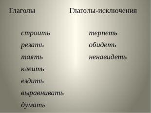 Глаголы Глаголы-исключения строить резать таять клеить ездить выравнивать дум