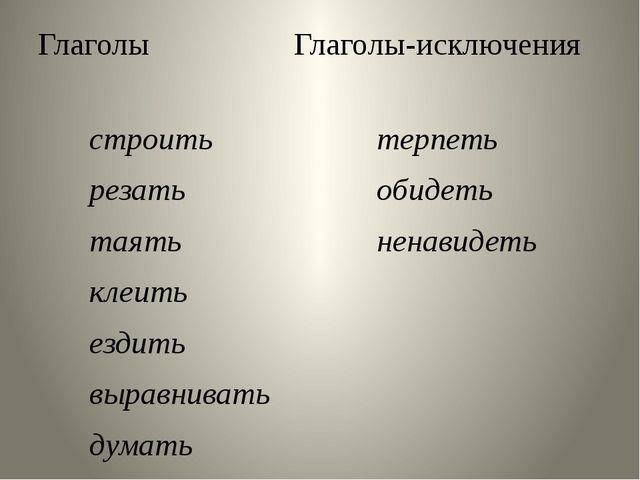 Глаголы Глаголы-исключения строить резать таять клеить ездить выравнивать дум...