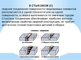 В СТЫКОВОМ (С) сварном соединении поверхности свариваемых элементов располага