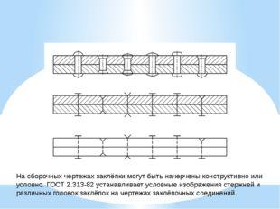 На сборочных чертежах заклёпки могут быть начерчены конструктивно или условно