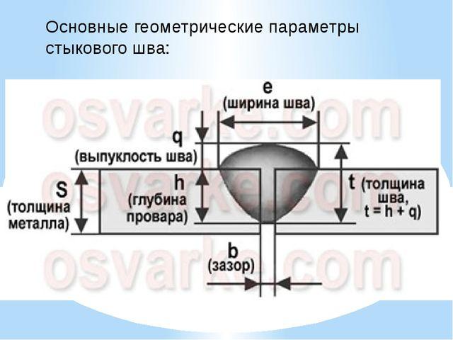 Основные геометрические параметры стыкового шва: