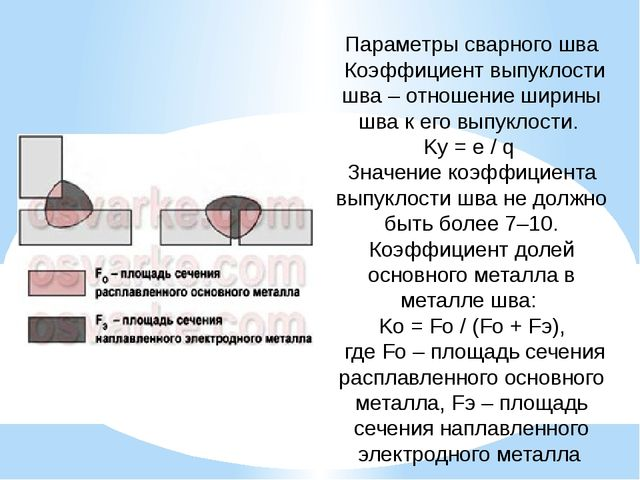 Параметры сварного шва Коэффициент выпуклости шва – отношение ширины шва к ег...