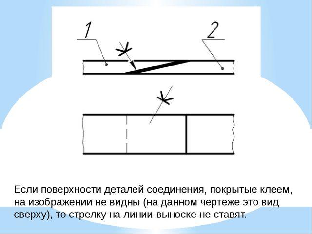 Если поверхности деталей соединения, покрытые клеем, на изображении не видны...