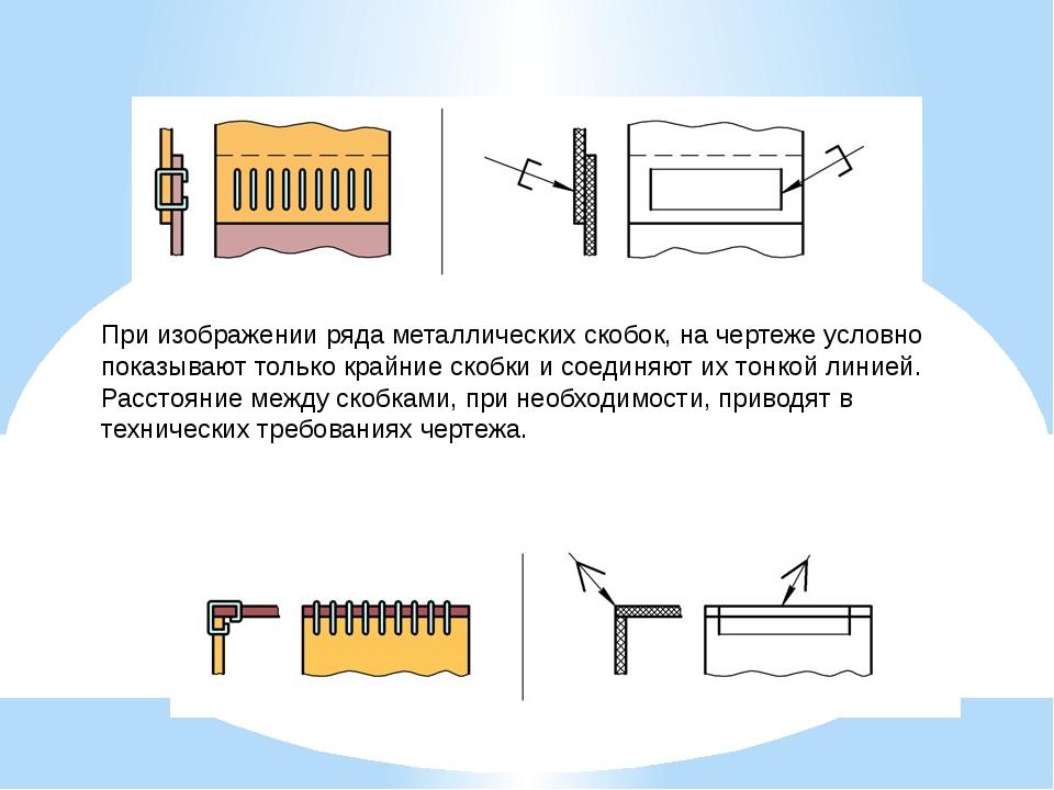 При изображении ряда металлических скобок, на чертеже условно показывают толь...