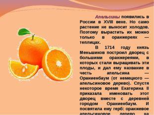 Апельсины появились в России в XVIII веке. Но само растение не выносит холод
