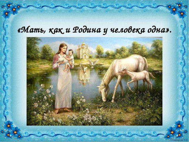 «Мать, как и Родина у человека одна».