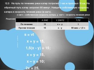 Решение:  s = vt x + y = 15,          1,5(x - y) = 15;