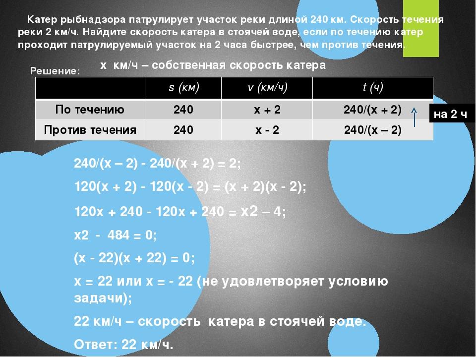 Решение: 240/(х – 2) - 240/(х + 2) = 2; 120(x + 2) - 120(x - 2) = (x + 2)(x...