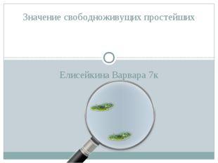 Елисейкина Варвара 7к Значение свободноживущих простейших