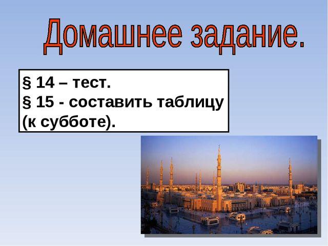 § 14 – тест. § 15 - составить таблицу (к субботе).