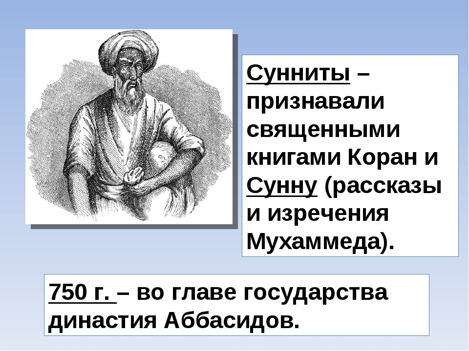 Сунниты – признавали священными книгами Коран и Сунну (рассказы и изречения М...