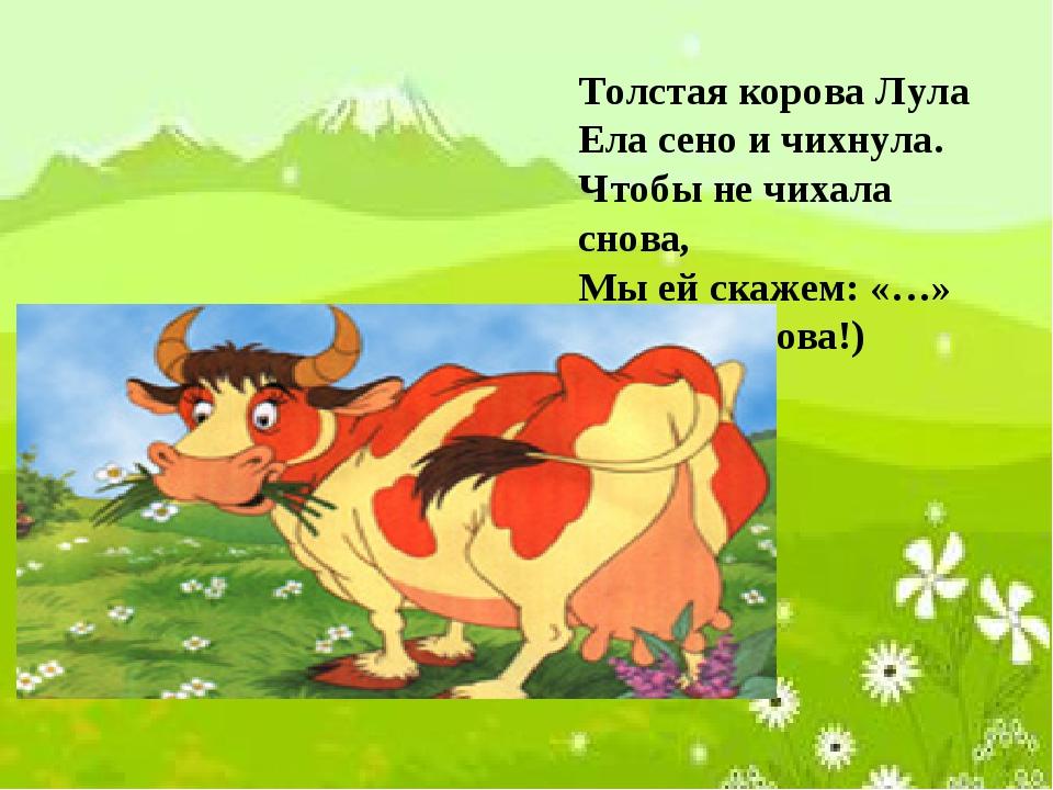Толстая корова Лула Ела сено и чихнула. Чтобы не чихала снова, Мы ей скажем:...