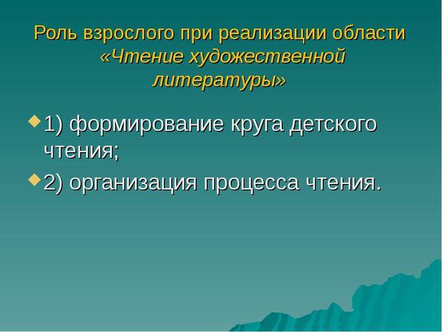 Роль взрослого при реализации области «Чтение художественной литературы» 1) ф...